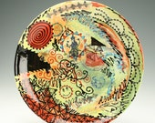 """Crazy Creek 11"""" Platter with Collage Look Hand Painted Art and Weird Dinnerware"""