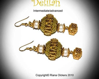 Tutorial Delilah Earrings - Beading Pattern with seed beads