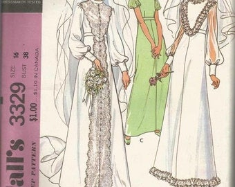 1970s Wedding Gown Dress Optional Train Bridesmaid Prom Evening Gown McCall's 3329 Uncut FF Size 16 Bust 38 Women's Vintage Sewing Pattern