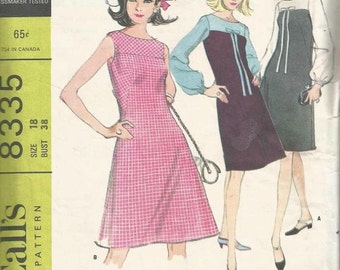 1960s Yoked A-Line Dress French Darts Bishop Sleeves Sleeveless Oval Neck Bow McCall's 8335 Size 18 Bust 38 Women's Vintage Sewing Pattern