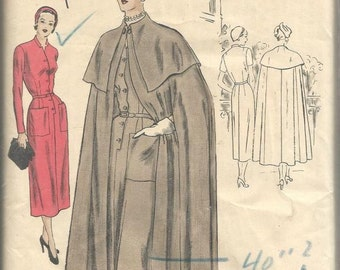 1940s Vogue Special Design Funnel Neck Cape & Capelet Band Neck One Piece Dress Vogue 4846 Unused FF Bust 34 Women's Vintage Sewing Pattern