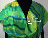 Green Hand Painted Silk Scarf. Emerald, Lime Handpainted Silk Shawl COLORADO MEADOWS by Silk Scarves Colorado. Large 14x72 Elegant Silk Gift
