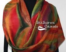 Hand Painted Silk Wool Scarf. Green, Burgundy, Red Warm Silk Wool Scarf SUNSET MOOD. Silk Scarves Colorado. Large 14x68. Birthday Gift.