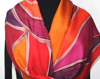 Silk Scarf Handpainted. Burgundy, Purple, Orange Hand Painted Shawl. Handmade Silk Wrap PHOENIX FLAMES. Extra Large 22x72. Birthday Gift.