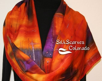 Silk Scarf Hand Painted, Silk Satin Shawl, Orange Red Purple Silk Scarf BURNING SKIES Large14x72, Mother Gift, Bridesmaid Gift, Gift-Wrapped