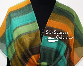 Green, Brown, Orange Hand Painted Silk Wool Shawl Green Party. Large Scarf 14x68. Silk Scarves Colorado. Elegant Gift, Birthday Gift