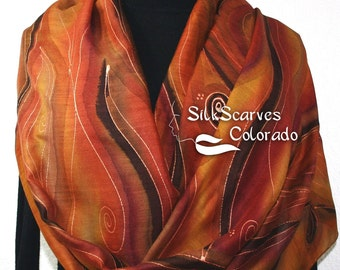 Hand Painted Silk Wool Scarf. Burgundy, Brown, Chocolate Warm Silk-Wool Scarf NOVEMBER MOODS-1. Silk Scarves Colorado. Large 14x68.