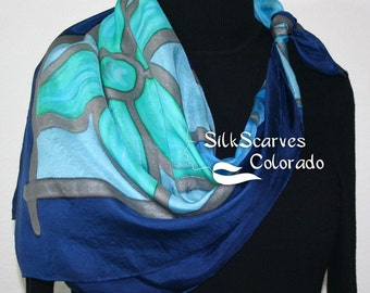 Hand Painted Silk Scarf. Turquoise, Teal, Blue Handmade Silk Shawl RAINY FLOWERS. Extra-Large 35x35 square. Silk Scarves Colorado.