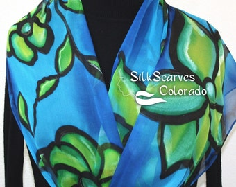 Silk Scarf Blue Green Hand Painted Chiffon Silk Shawl BLUE MOOD, in Several SIZES. Silk Scarves Colorado. Birthday Gift. Something Blue
