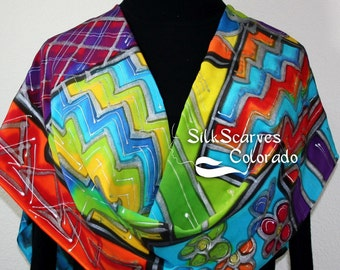 Silk Scarf Red, Orange, Blue Hand Painted Silk Shawl COLOR STORY by Silk Scarves Colorado. Large 14x72.  Elegant Silk Gift. Birthday Gift
