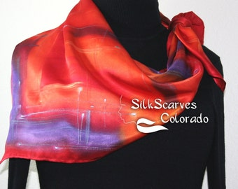 Silk Scarf Orange, Red, Purple Hand Painted Silk Satin Shawl BURNING SKIES-2 by Silk Scarves Colorado. Extra-Large 35x35. Elegant Silk Gift