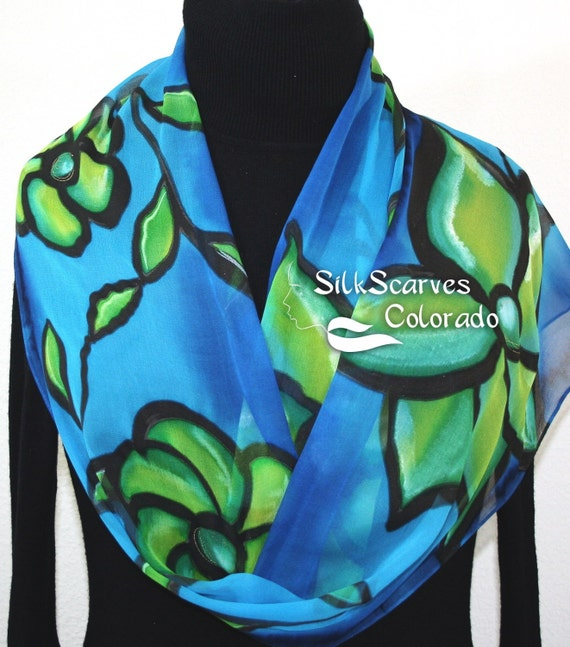 Silk Scarf Blue, Green Hand Painted Chiffon Silk Shawl BLUE MOOD. Extra Long 11x90. Silk Scarves Colorado. Birthday Gift. Gift-Wrapped.