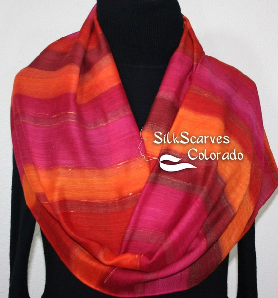 Hand Painted Silk Wool Scarf, Burgundy, Red, Orange Warm Silk-Wool Scarf SPANISH SUNSET. Silk Scarves Colorado. Large 14x68. Birthday Gift.
