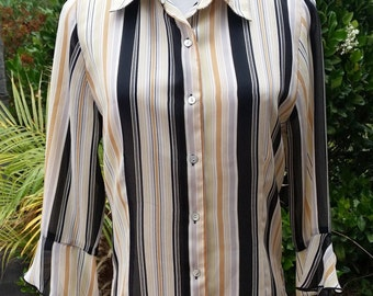 striped button down blouse ruffled cuff vintage styling fashion show featured item Fred David Petite Small