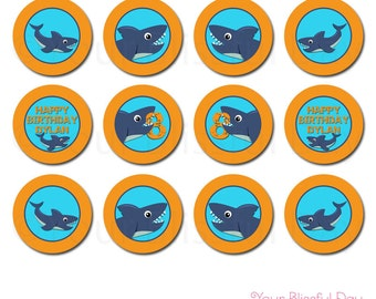 Shark Cupcake Toppers | PRINTABLE Shark Party Circles | Shark Party Circles | Shark Stickers | Personalized Shark Cupcake Toppers  #5002
