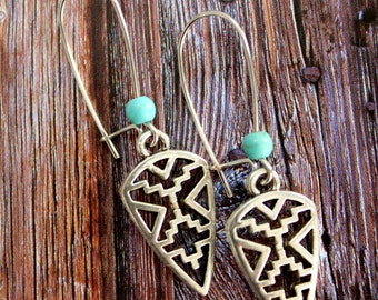 Dangle silver Aztec Tribal Native geometric elements earrings with a turquoise bead Boho chic Ethnic Gypsy style jewelry by Inali