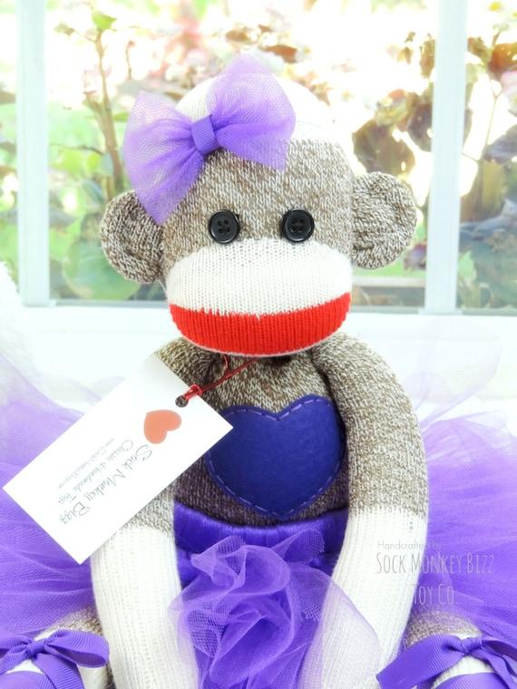 Purple Ballerina Doll, Sock Monkey Doll Child's Toy