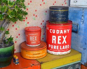 ASTOUNDING Antique Cudahy Lard Tin Bucket Collection, Rustic 1800s Hog Casing to 25 Pound 1940s Rex Pure Lard - Red, Orange & Black Pail Set