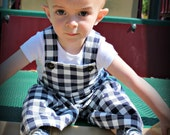 Navy Blue Gingham Check - A Good Day OVERALLs