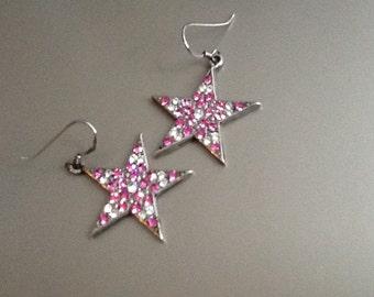 Swarovski crystal vintage pink star earrings