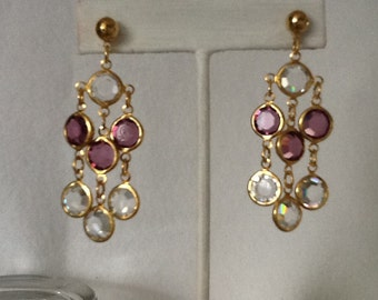 Vintage amathyst and clear Swarovski Austrian crystal bezel set chandelier earrings