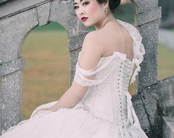 Classic vintage style corset. Ivory white Wedding corset/ prom/ steampunk. Size 8-10