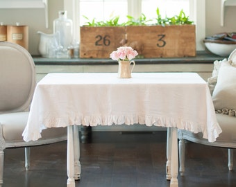 Ruffled Linen Tablecloth with a 3 inch ruffle