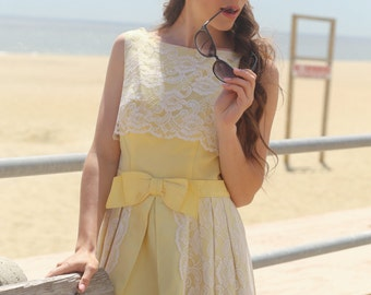 the jones vintage 60s pale yellow prom dress wedding dress bridal white lace bow tea length sleeveless small xs petite