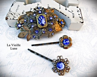 Sapphire Victorian Hair Barrette Hair Accessories Set, Jewel Barrettes, Rhinestone Assemblage Flower Hair Clips, Hair Jewelry