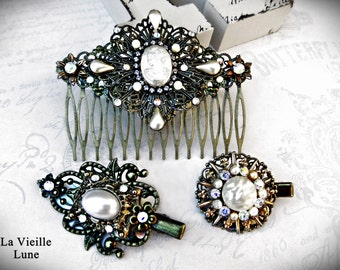 Pearl Cameo Victorian Hair CombsHair Accessories Set, Vintage Jewelry  Assemblage Hair Clips, Hair Jewelry