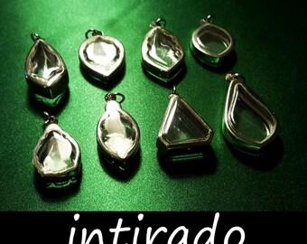 Terrarium Jewelry, Terrarium Necklace, Intirado, Reliquary, Shadow Box Pendant, Display Cases, Art and Craft Supplies, Memento, 8pcs