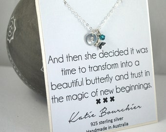 Butterfly Initial + Birthstone 925 Sterling Silver Necklace Silver Meaningful necklace New beginnings necklace graduation gift daughter gift