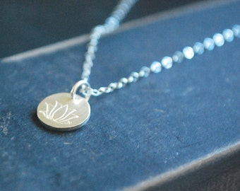 Sterling silver Lotus Coin necklace Simple Lotus necklace Necklace Lovely yoga gift spiritual gift sterling silver layered necklace layering
