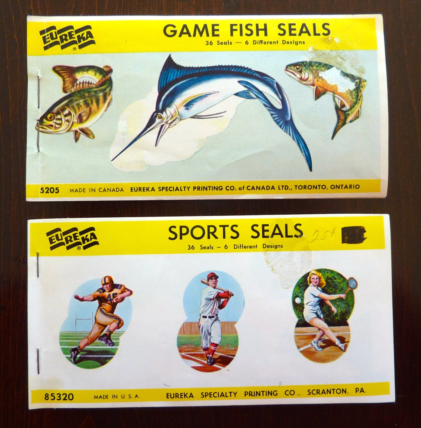 Vintage eureka sports seals booklet game fish seals for Illinois game and fish