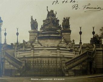 Antique French Postcard - Ste. Marie Fountain, Rouen, France