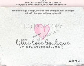 Custom Premade Logo Design Logo Template - doodle hand drawn watercolor little love heart logo illustration logo by princessmi logo 1372-4