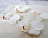Real touch orchid bobby pins White orchid Set of 4 Bridal hair accessory Wedding hair accessories