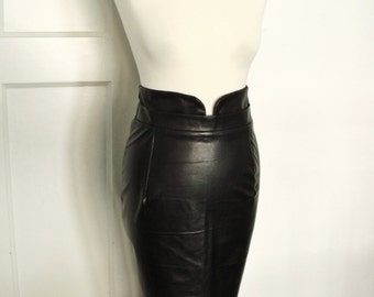 Black leather look pencil skirt, high waisted, vegan leather, PU leather, fetish skirt, sizes XS-XL or custom made in your size