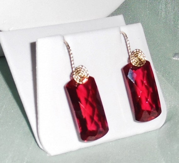 70 cts Natural Cushion CKB Red Topaz gemstones, 14kt yellow gold Pierced Earrings