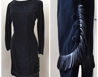 1950s Black velvet wiggle dress with satin tassel fringe / 50s long sleeve evening dress, Carnegie - XS S