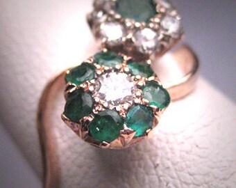 Antique Emerald Diamond Wedding Ring Vintage Victorian Art Deco 1930's