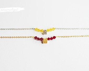 Personalized Birthstone + Initial Bracelet