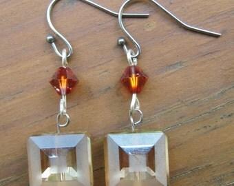 Vintage Beveled Glass Earrings