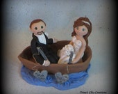 Wedding Cake Topper, Custom Cake Topper, Bride and Groom, Boat, Fishing, Polymer Clay, Wedding/Anniversary Keepsake