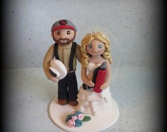 Wedding Cake Topper, Custom Cake Topper, Personalized, Polymer Clay Bride and Groom, Welder, Fire Extinguisher, Welding torch, Keepsake