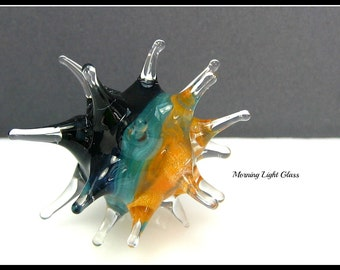 Sea Urchin Marble 2 - Art Glass Spiky Sphere - Flamework Orb - Boro Lampwork Sculpture