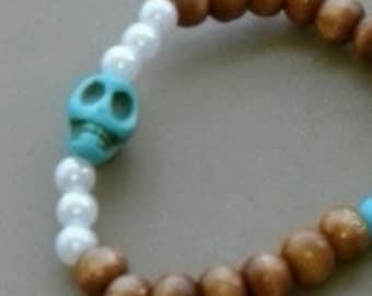 Beach Style Beaded Skull Bracelet