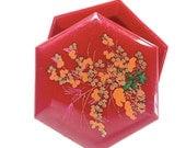 Asian Design Hexagonal Plastic Trinket Box Burgundy