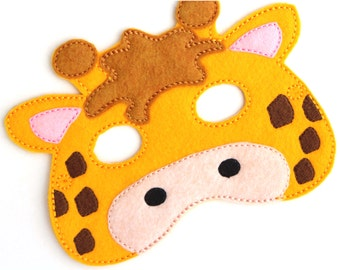 Kids Giraffe Mask, Giraffe Costume, Felt Mask, Kids Face Mask, Animal Mask, Halloween Costume, Pretend Play, Dress Up, Party Favors, Costume