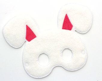 Kids Rabbit Mask, Bunny Costume, Easter Bunny, Felt Mask, Kids Face Mask, Animal Mask, Halloween, Pretend Play, Dress Up, Party Favors
